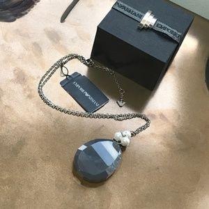 GIORGIO ARMANI Sterling Silver Pearl Necklace NEW!
